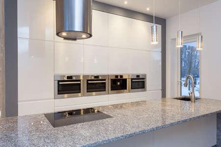 Designers interior - kitchen with white shelves