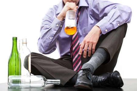 drinking drunk: Man drinking alcohol from bottle, wine, whisky, vodka