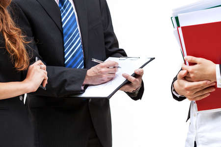 Boss and his new trainee with documents, isolated background photo