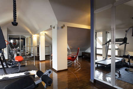 Private gym with modern equipment in  the home Stock Photo - 23049392