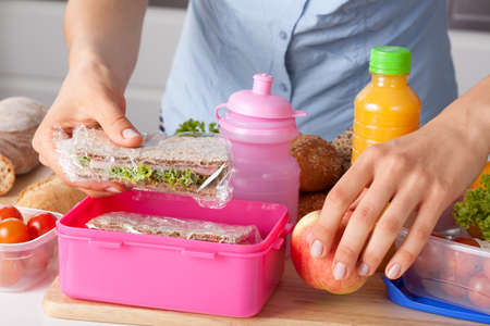 school lunch: Mother preparing for her children lunch box