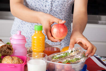 Healthy meal for a child prepared by mum photo