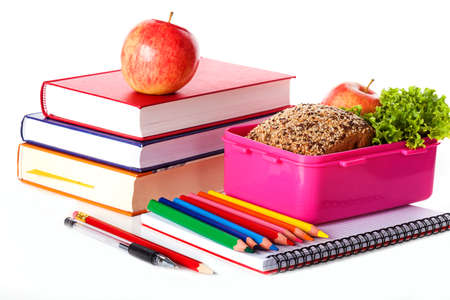 girlish: Girlish lunch box with healthy meal on white isolated background Stock Photo