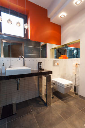 Contemporarary bathroom interior with grey and white appliances Stock Photo - 23033840