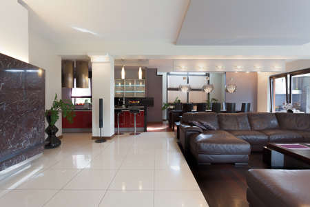 Kitchen, living room and dining room in modern house photo