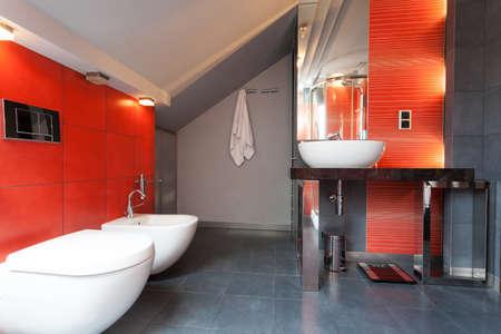 vessel sink: Rojo y gris ba�o con ducha y bidet