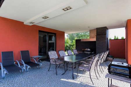 Terrace in spacious villa with garden Stock Photo - 23033953