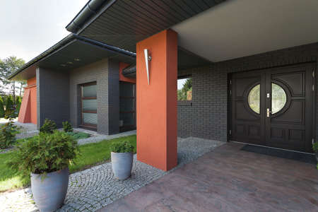 Entrance to a huge house- wooden door Stock Photo - 23033956