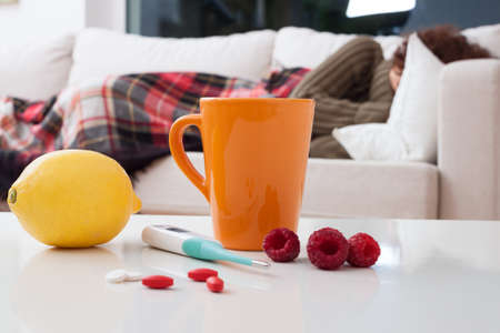 got: Woman who got a cold is staying in bed