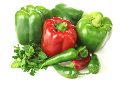 Isolated composition of green and red vegetables Stock Photo - 23256213