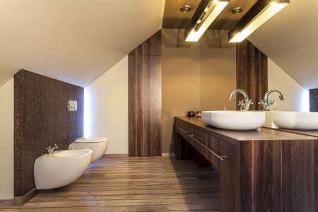 hotel bathroom: Country home - bright bathroom on the attic
