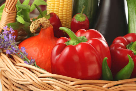 Colourful vegetables and flowers inside the basket Stock Photo - 23256303