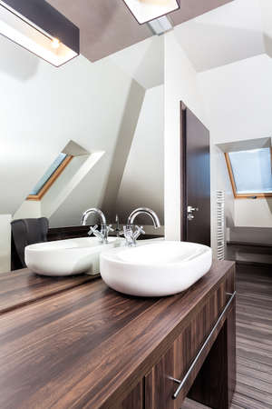 bowl sink: Country home - stylish sink in wooden bathroom Editorial