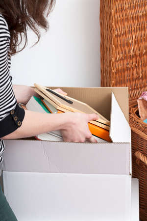 moving out: Student is packing things to moving out from home Stock Photo