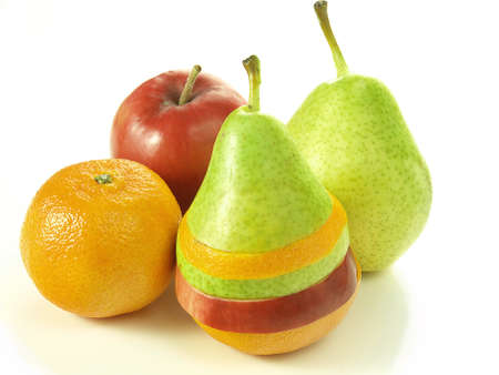 dietetical: Colourful dressed fruits - pear asisted by apple and orange Stock Photo