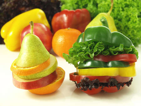 dietetical: Sliced fruits and vegetables put into independent units