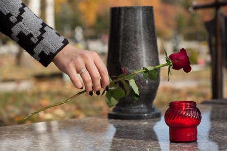 Mano de la mujer que pone la rosa roja sobre la tumba