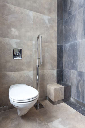 Wc with silver bar for disabled person  photo