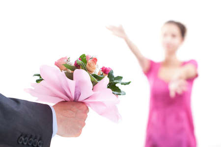 recieving: A woman waiting for a pink bouquet with her arms open