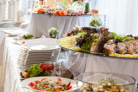 salad buffet: Catering, different colorful snacks at wedding reception Stock Photo
