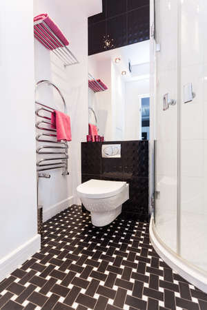 vibrant cottage: Vibrant cottage - Black and white bathroom with toilet