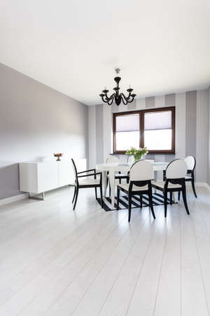 Vibrant cottage - Dining room with black and white colors Stock Photo - 23699298