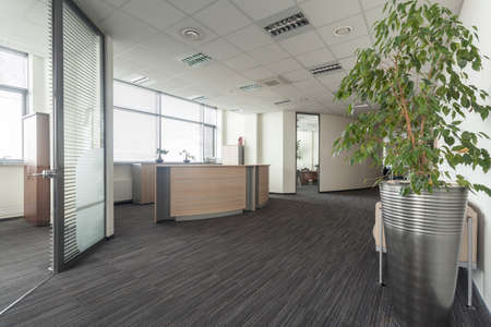 bank interior: Interior of contemporary office, hall and reception Stock Photo