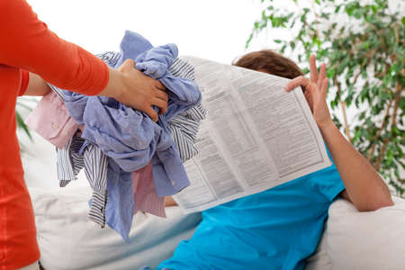 lazybones: Housewife requires her lazy husband to launder