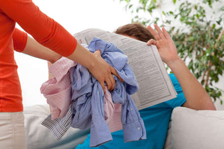 household chores: Quarrel of household duties bewteen couple