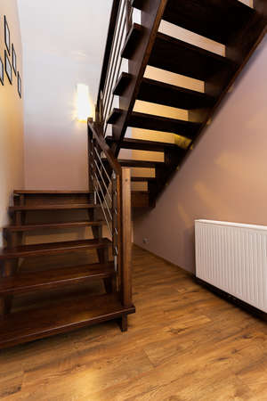 wooden stairs: Urban apartment - modern wooden stairs in new house Stock Photo