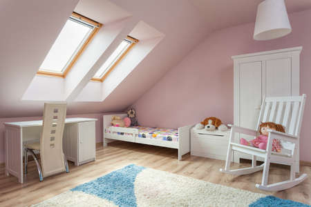 Urban apartment - cute girl's room with white furniture photo