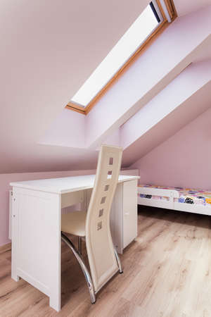 Urban apartment - room on the attic with white furniture photo