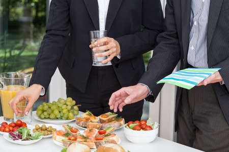 food buffet: Business party and the buffet on the open air Stock Photo