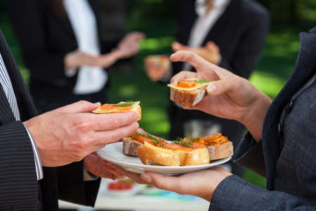 outdoor event: Small sandwiches on office meal during the lunch Stock Photo