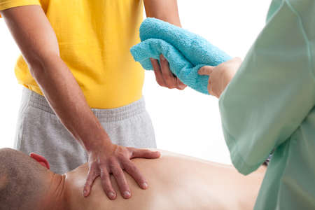 Technics of massage using in medicine in patients recovery photo