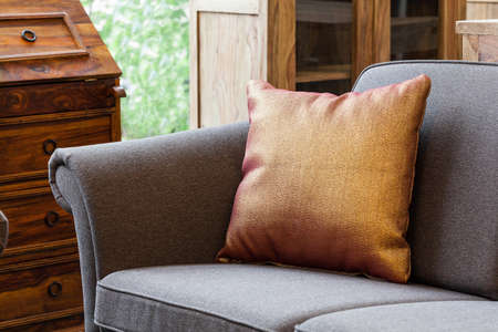 furniture store: A closeup of a sofa with a shiny golden pillow Stock Photo