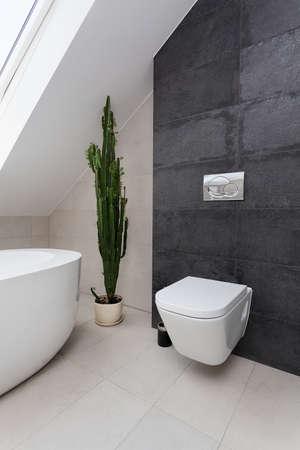 도시 아파트 - 회색 화장실에 흰색 화장실 스톡 콘텐츠