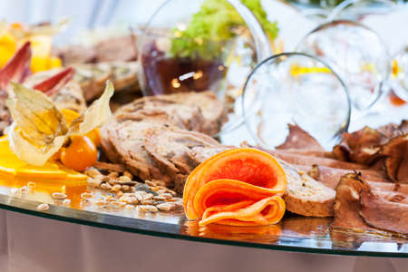 Closeup of a buffet with snacks and appetizers photo