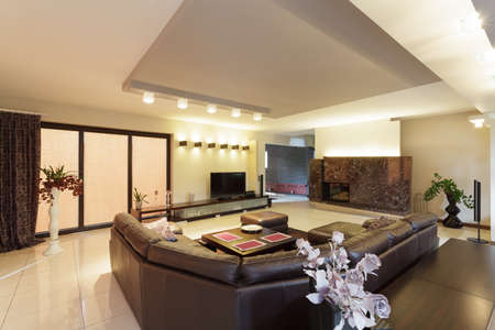 Spacious living room in a modern house photo