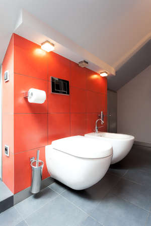 Toilet with bidet in red tiled bathroom photo