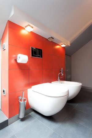 bidet: Toilet with bidet in red tiled bathroom Stock Photo