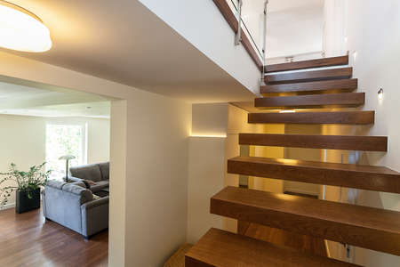 bright space: Bright space - lit up stairs in an elegant mansion