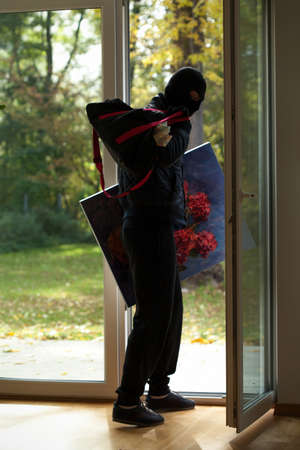 burglar protection: Burglar escaping with bag full of money and piece of art