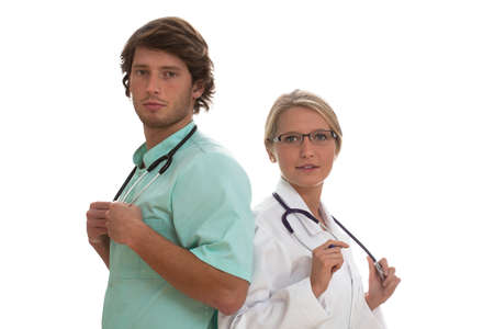 Two medical specialists working together in a team Stock Photo