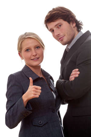 workmates: Workmates on isolated background, woman showing ok sign