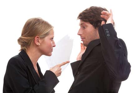 dominacion: Dominación femenina en la oficina, fondo blanco aislado