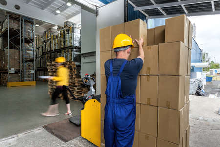 transporting: Warehouse workers doing their work - export of packages with articles