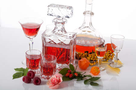 sorbus: Exclusive traditional liqueurs in glass carafes Stock Photo