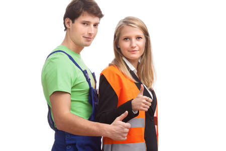 boiler suit: Physical worker and office worker showing the OK gesture