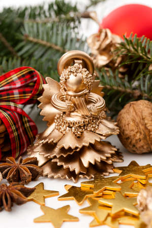Close up of a gold christmas angel statue photo